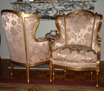 Pair Antique French 24kt Gilt Louis XVI Bergere Chairs In Scalamandre Silk