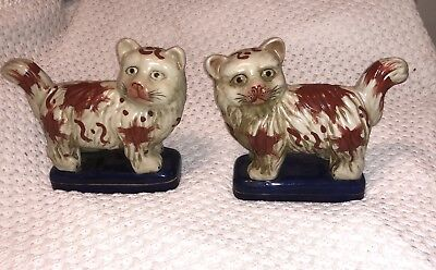 PAIR OF STAFFORDSHIRE CATS 19th CENTURY