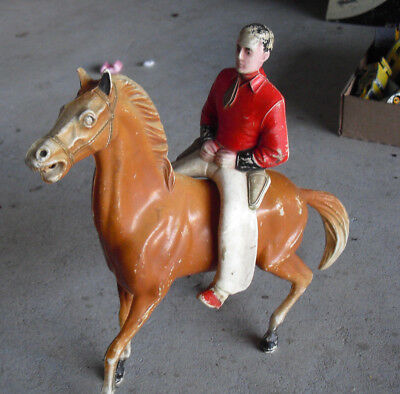 "Vintage 1950s Era Hard Plastic Horse with Cowboy Western Toy 9 1/4"" Tall"
