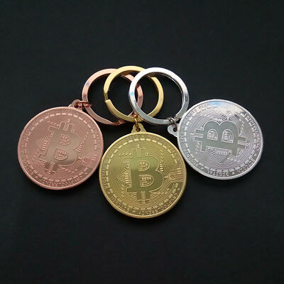Keychain Gold/Silver Plated Keyring BTC Metal Physical Bitcoin Key Rings Gifts