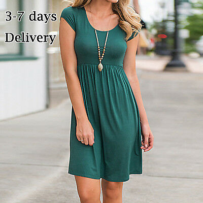 Women Dress Soild Summer Home Casual Spring Short Sleeve O-neck Loose Dresses US