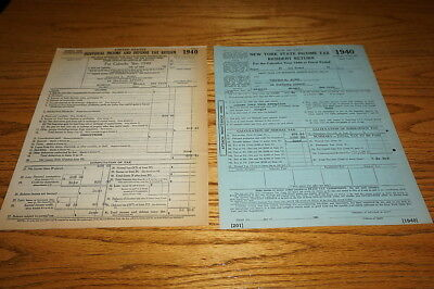 1940 Form 1040 Plus NY State Income Tax Form 201 Typographic Printer