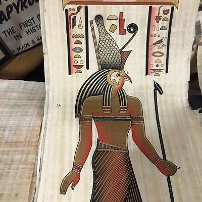 Vintage Hand Painted Papyrus Egyptian God Hours Made In Egypt