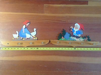 2 WOOD PEG WALL BOARD HANG HOLDER Antique COTTAGE CHIC Nursery Hummel Style Elf