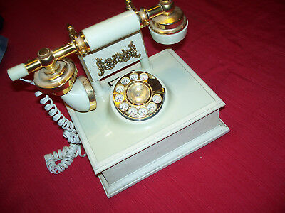 Vintage DECO TEL French Style Rotary Dial Ivory and Brass Desk Phone