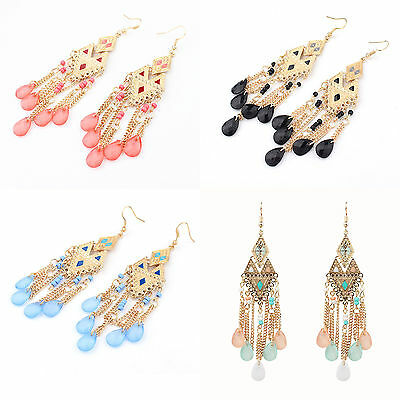 Boho Fashion Long Chain Crystal Resin Beads Dangle Ear Stud Clip Hook Earrings