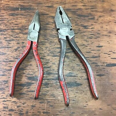 2x VINTAGE PAIRS OF W.K. PEACE PLIERS LONG NOSE WIRE CUTTING OLD HAND TOOLS