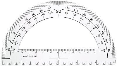 Plastic Protractor 6-Inch Long Ruler Edge Angle Measurement Tool Math Student US