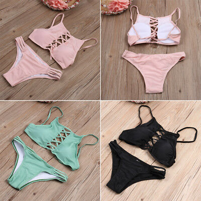 2018 Swimwear Women Triangle Bikini Bandage Push-Up Swimsuit Bathing Beachwear Y