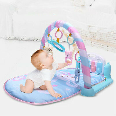 Baby Gym Floor Play Mat Activity Musical Pedal Play Piano Kick Toy Fitness Mat