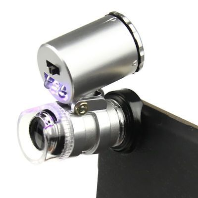 60X Cellphone Loupe Microscope Lens LED Magnifier Micro Camera For iPhone F7