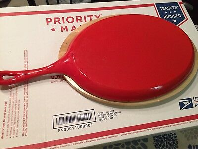 Red And White Cast Iron Oval Skillet Pan With Wood Base &Orange Plastic Handle