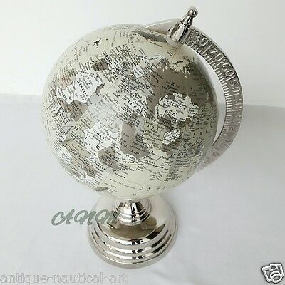 Antique Base World Globe Nickle Vintage Style Table Top Home Decorative Item