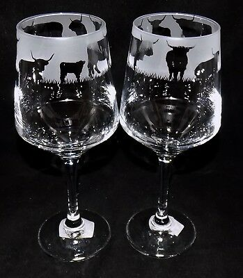 """New Etched """"HIGHLAND COW"""" Wine Glass(es)  - Free Gift Box - 390mls Size Glass"""