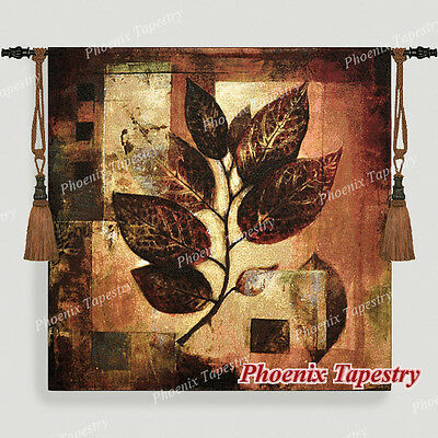 "Modern Leaf Fine Art Tapestry Wall Hanging, Cotton 100%, 39""x39"", UK"