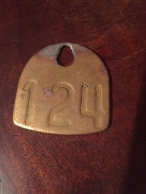 Vintage Brass Cattle Tag Double Sided # 124