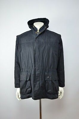 Vintage Barbour A6 Durham Waxed Jacket Navy Blue (Size C38/97CM)