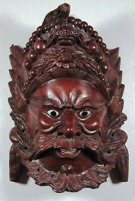 Vintage Teak or Rosewood Mask - Asian influence, beautiful collectible!
