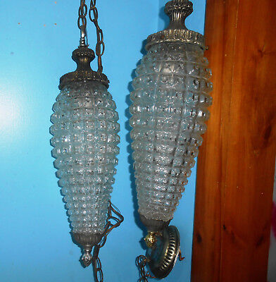 """Vintage Large Double Pineapple Glass Swag Hanging Light Fixture """"regency Style"""""""
