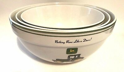 Set Of 3 Gibson Stoneware John Deere Nesting Mixing Serving Bowls ~ Discontinued
