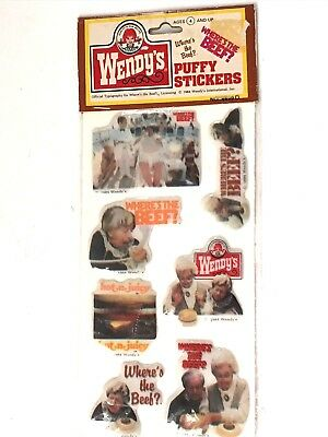 Nos 1984 Sealed Package Wendy's Burgers Where's The Beef? Puffy Stickers