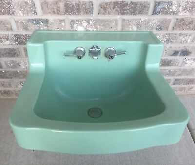 Vtg Mid Century Jade Green Porcelain Ceramic Bathroom Sink Dated 1950 MCM