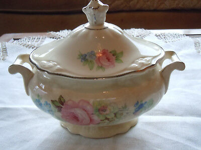 Vintage Homer Laughlin China Virginia Rose Sugar Bowl with - Unique