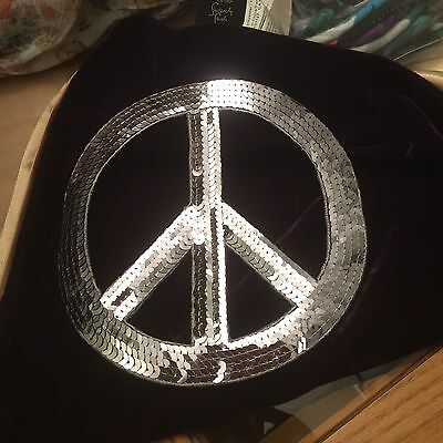 Huge Sequin Peace Sign Appliqué 7 Inches Silver Iron On