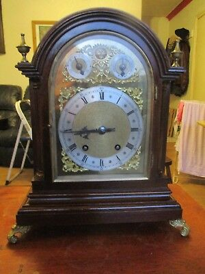 Antique Mahogany & Brass TING TANG Bracket Clock WINTERHALDER HOFFMEIER W & H