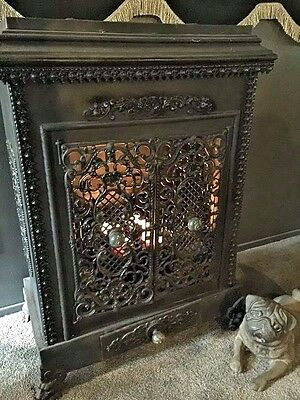 Antique French Stove Ornate Gothic Victorian Parlor Stove with Gargoyle Feet