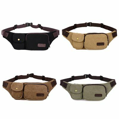 Men Casual Waist Bag Outdoor Travel Camping Solid Color Canvas Waist Bag FK