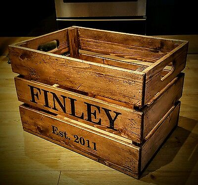 Rustic Hand Made Solid Pine Personalised Apple Crate / Toy Box / Storage