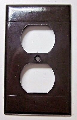 Vintage Sierra art deco brown Bakelite 2 ribbed lines outlet wall cover plate P8