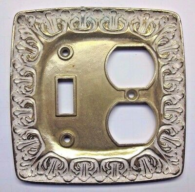 Satin brass plated & white LR28847 BF146 outlet switch plate 2 gang combo cover