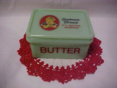 Jadeite Green Glass Butter Tub Advertising The Sunbeam Bread