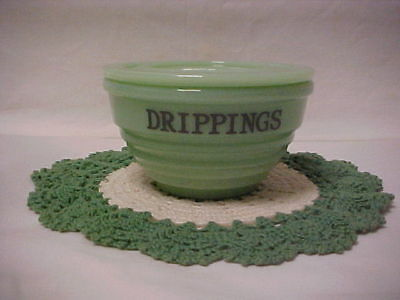 Jadeite Green Glass Drippings Bowl  With Glass Lid Beehive Pattern