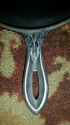 "Antique 1800's CAST IRON Skillet GATE Marked w/Beautiful Ornate Handle ""Nice"""