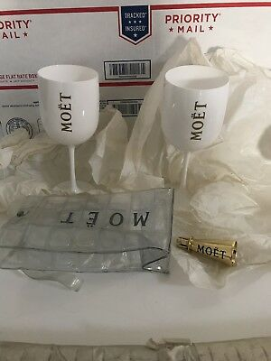 Moet & Chandon Acrylic Goblets ITALY Flutes x 2 GOLD bottle chill 750mL holder