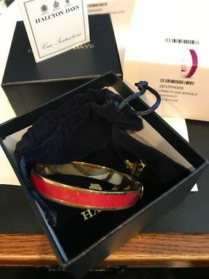 Halcyon Days Enamel Red and Gold HINGED Bangle~10MM~$195.00~NEW W/BOX