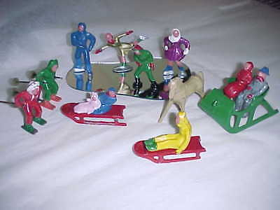 Vintage Barclay Winter Scene Set Of Skaters,sledders,skiers And More