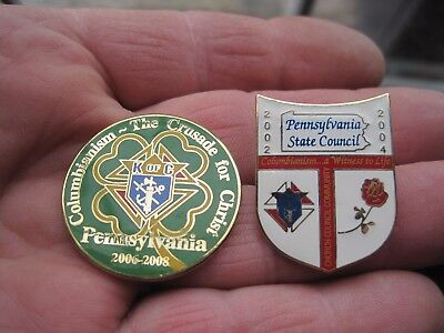 2 pins K of C Knights of Columbus pa state council columbianism  Enameled Tack