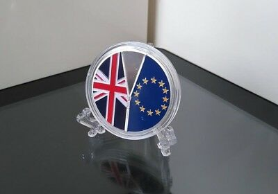 Euro Brexit Silver Coin Collectable Novelty Gift Plus Elegant Display Stand x1
