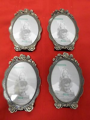 "Lot of 4 Oval Brass Cast Picture Frames 3.5"" x 5"" Rose Design NWT"