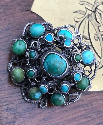 Antique Victorian Austro Hungarian Sterling Silver Turquoise Stone Brooch/pin