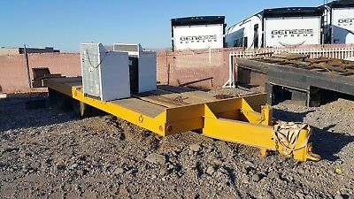15 ton dove tail pintle hitch trailer 25' flatbed equipment with ramps