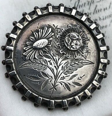 Victorian Antique Sterling Silver Aesthetic Sun Flower /daisy Brooch /pin