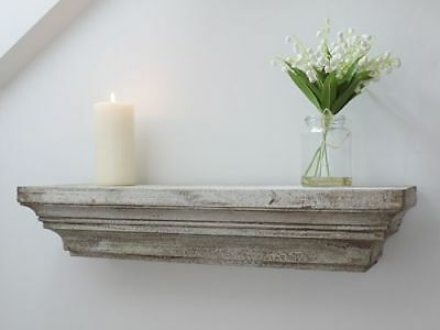 White French Wood Country Style Rustic Distressed Floating Shelf Antique 61cm