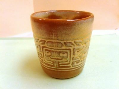 Frankoma Coffee Cup 7C Pottery Mayan Aztec Desert Gold Vintage