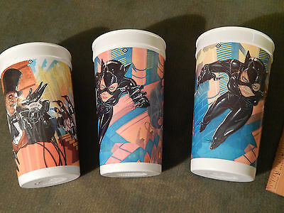 (LOT of 3) '90s BATMAN RETURNS_McDonalds PROMO CUPS [The Penguin_Catwoman] Ltd.