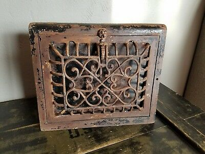 Patented 1911 antique cast iron metal wall register heat vent grate